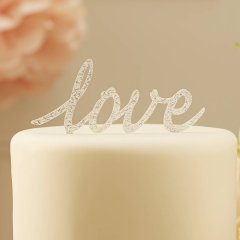 Cake topper - Love Pastel Pink Silver