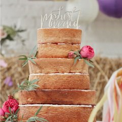 Cake topper - wooden just married