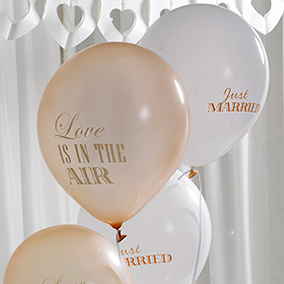 Ballonger - Love is in the air (Ivory/guld)