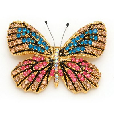 Brosch - Butterfly turquoise/pink