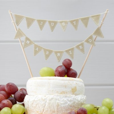 Cake topper - Just married vintage