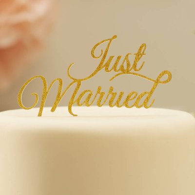 Cake topper - Just married Pastel Pink Gold