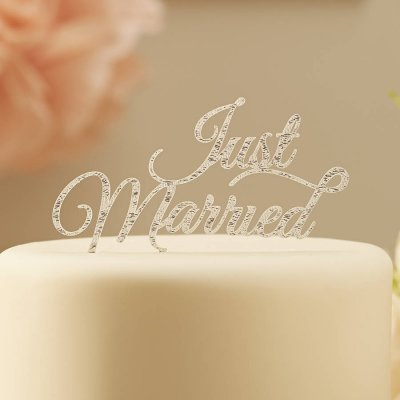 Cake topper - Just married Pastel Pink Silver