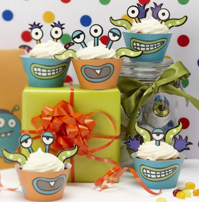 Cup cake wrappers - Monster